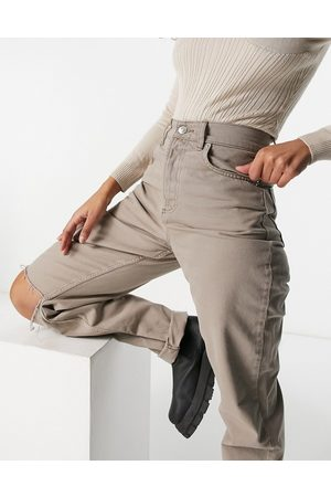 ASOS Ženy S vysokým pasem - Hourglass high rise 'slouchy mom jean in mushroom with knee rips-Grey
