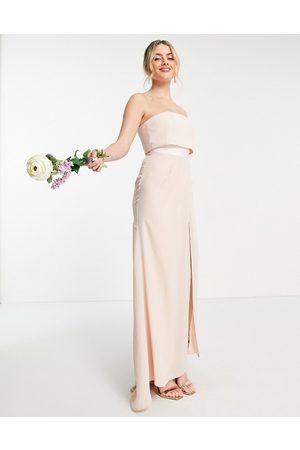 ASOS Ženy Maxi - Bridesmaid bandeau layered maxi dress with pleated wrap skirt-Pink