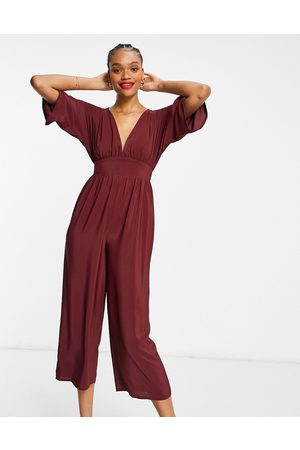 ASOS Kimono sleeve culotte jumpsuit in burgundy-Red