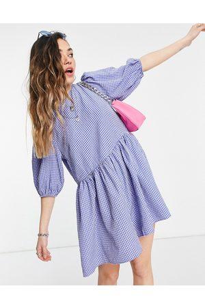 ASOS Ženy Overaly krátké - Puff sleeve playsuit in blue check-Multi
