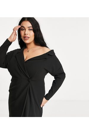 ASOS Curve fallen shoulder wrap shirt mini dress in black