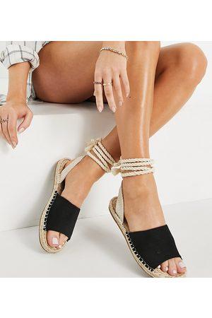 ASOS Ženy Espadrilky - Wide Fit June rope tie espadrilles sandals in black