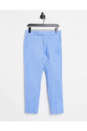 ASOS Muži Chino - Skinny ankle grazer smart trouser in blue