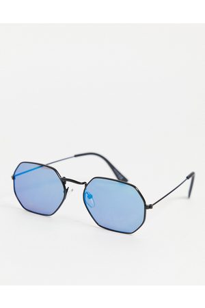 ASOS 90s angled metal sunglasses in black with mirrored lens