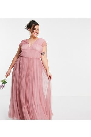 ASOS ASOS DESIGN Curve tulle plunge maxi dress with shirred sleeves in rose-Pink