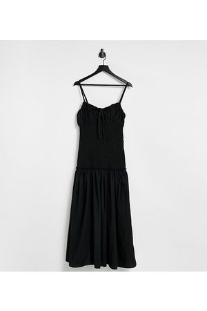 ASOS Ženy Midi - ASOS DESIGN Tall ruched bust cami midi sundress with shirred waist in cotton poplin in black