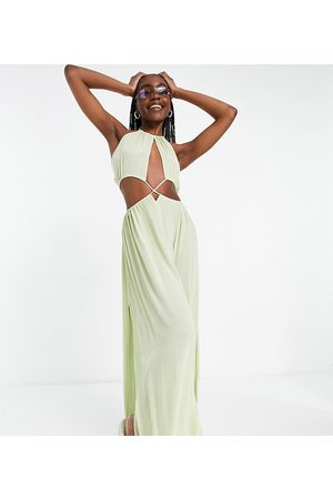 ASOS Ženy Ke krku - ASOS DESIGN tall cross waist halter maxi beach dress in khaki-Green