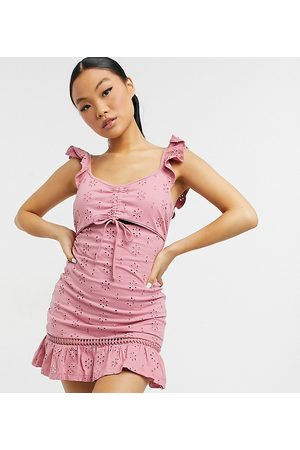 ASOS ASOS DESIGN Petite broderie mini dress with cut out and frill straps in blush-Pink