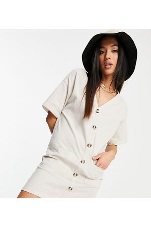 ASOS Ženy Šaty - ASOS DESIGN Petite button through t-shirt dress in stone-White