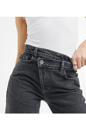 COLLUSION X014 dad jeans with stepped waistband in washed black-Grey