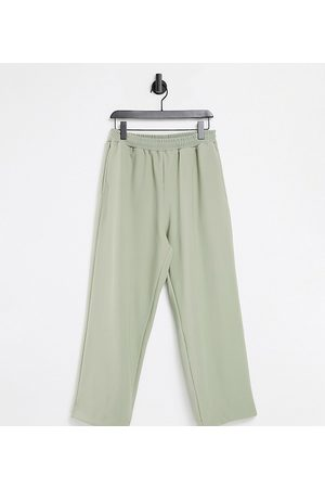 COLLUSION Tepláky - Unisex wide leg joggers in rib fabric in stone co-ord