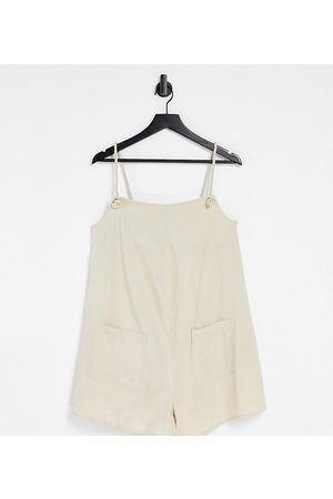 ASOS ASOS DESIGN maternity rope pocket dungaree playsuit in stone-Neutral