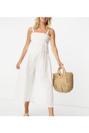 ASOS ASOS DESIGN maternity shirred elastic back jumpsuit in white