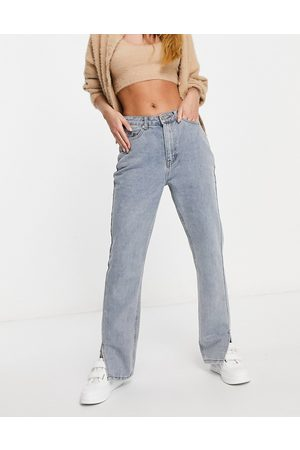 Missguided Ženy Rovné nohavice - Straight jean with side split in light wash blue