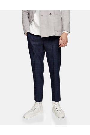Topman Stretch skinny joggers in navy check-Blue