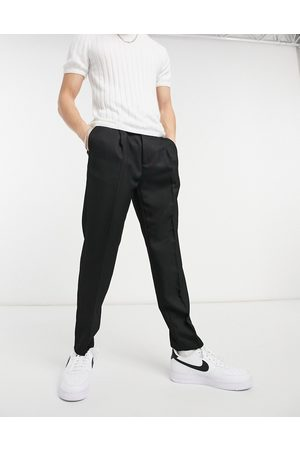 Topman Muži Chino - Tapered cotton trousers in black