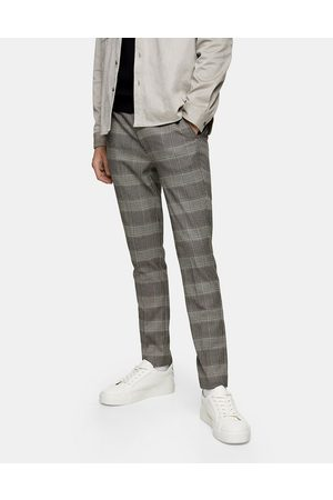 Topman Muži Chino - Stretch skinny trousers in neutral check-Black