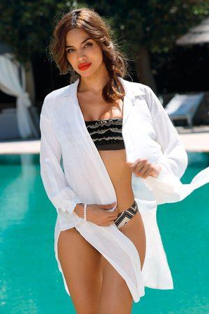 ETNA Plážové košilové šaty Leslie white