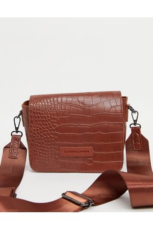 Claudia Canova Ženy Peněženky - Cross body bag with webbing strap in tan croc-Brown