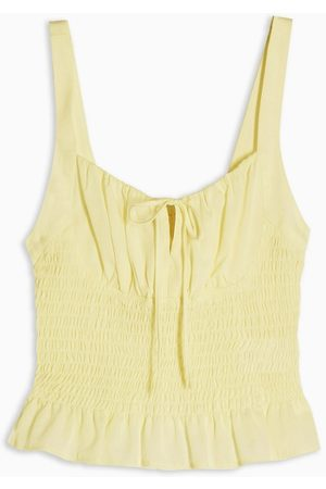 Topshop Ruched tie front cami in yellow