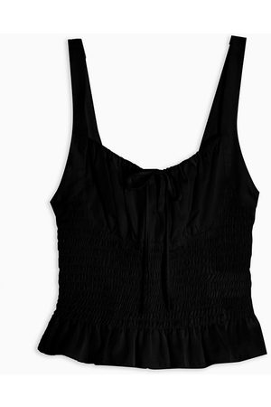 Topshop Ruched tie front cami in black