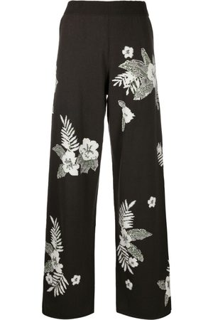 Barrie Floral wide-leg trousers