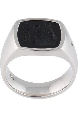TOM WOOD Sterling silver Athena cushion onyx ring