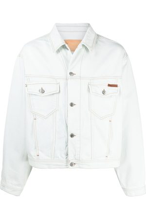 Golden Goose Logo tab bleach denim jacket