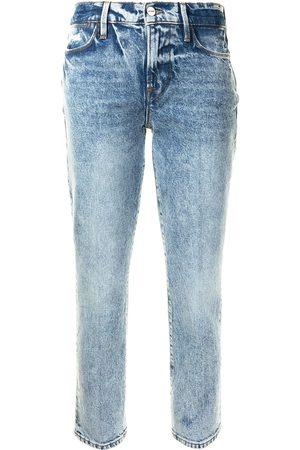 Frame Le High Straight bleach wash jeans