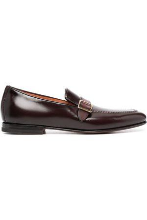 santoni Buckle-strap leather loafers