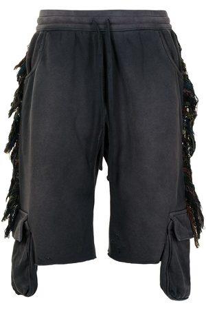 Alchemist Fringed-stripe track shorts