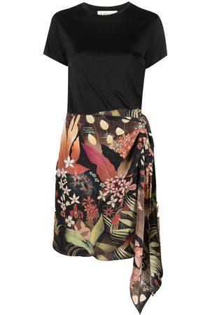 Lanvin Floral-print side-tie skirt