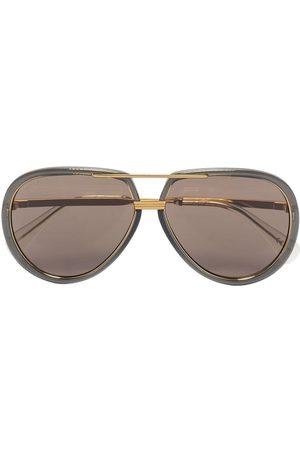 Gucci Logo-engraved aviator-frame sunglasses