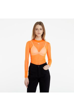Calvin Klein Mesh High Neck Long-Sleeved Top Shocking Orange