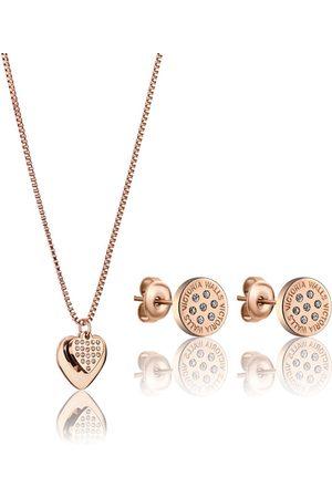 victoria Elegantní bronzová sada šperků s krystaly VS1117R (náušnice, náhrdelník)