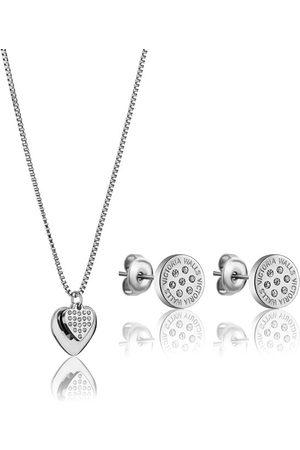 victoria Elegantní ocelová sada šperků s krystaly VS1117S (náušnice, náhrdelník)