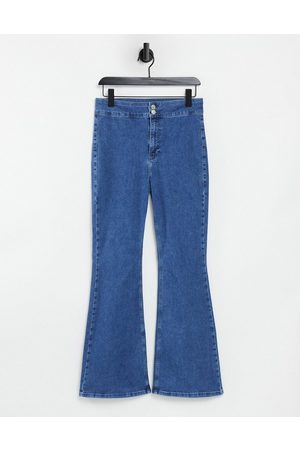 Topshop Ženy Bootcut - Zed flared jeans in mid wash blue