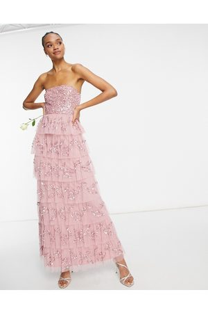 Maya Ženy Maxi - Bandeau all over embellished tiered maxi dress in rose pink