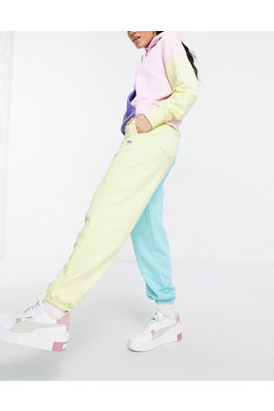 PUMA Ženy Tepláky - Downtown colourblock joggers in pink and yellow - exclusive to ASOS-Blue