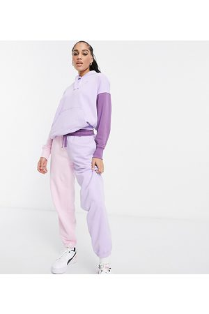 PUMA Ženy Tepláky - Downtown colourblock joggers in lilac and pink - exclusive to ASOS-Purple