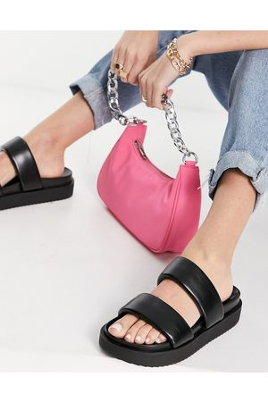 Pull&Bear Faux leather sandals in black