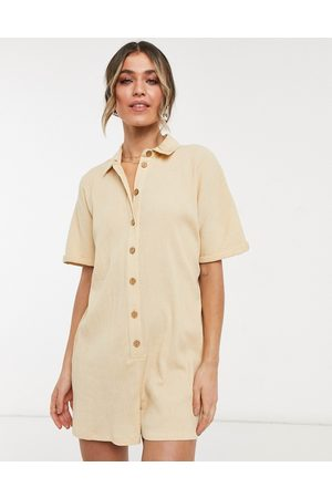 ASOS Button through chuck on shirt playsuit in stone-Beige