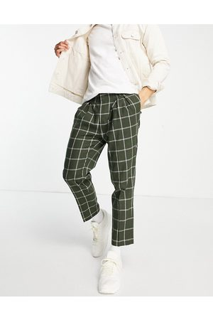 ASOS Tapered wool mix smart trouser in windowpane check-Green