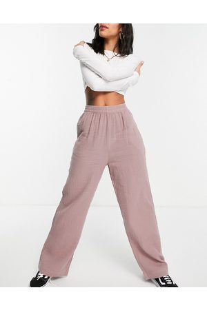 ASOS Ženy Široké nohavice - Cheesecloth trousers in heather pink