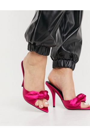 ASOS Muži Sandály - Nester bow mules sandals on pointed insole magenta satin-Pink