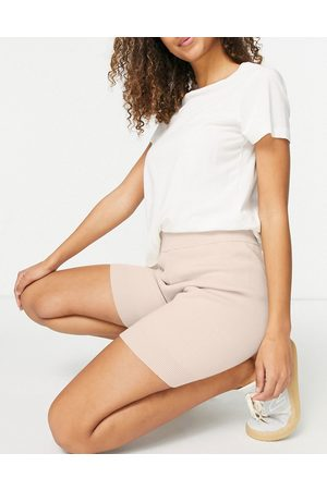 ASOS Ženy Legíny - Mix & match lounge premium knitted legging short in biscuit-Brown