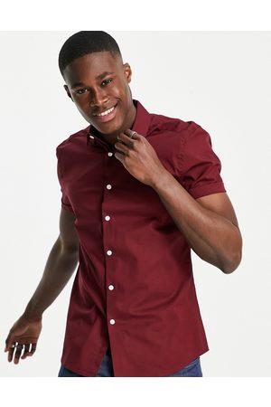 ASOS Muži S krátkým rukávem - Stretch skinny fit shirt in burgundy-Red