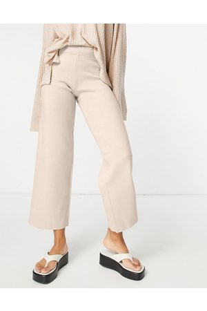 ASOS Ženy Rovné nohavice - Mix & match lounge premium knitted straight leg trouser in biscuit-Brown