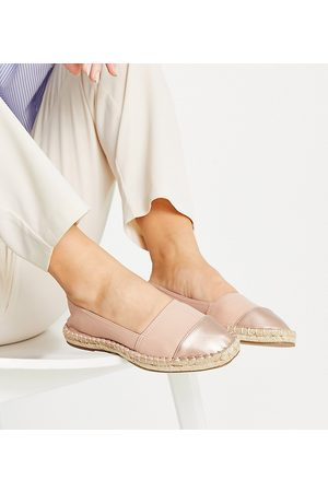 ASOS Wide Fit Joy toe-cap espadrilles in pink and rose gold-Neutral