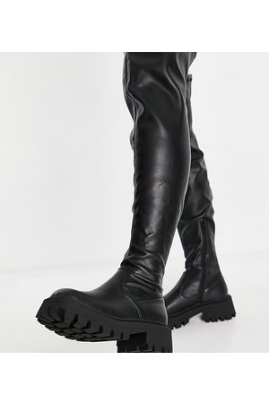 ASOS DESIGN Wide Fit Kassidy chunky square toe over the knee boots in black
